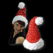 SANTA HAT WITH GLITTER RED