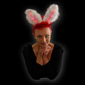 LED BUNNYEARS RED AND WHITE