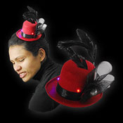 LED MAXI STOVEPIPE HAT MARLENE RED