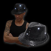 LED SEQUIN HAT BLACK