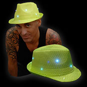 SEQUIN HAT NEON YELLOW